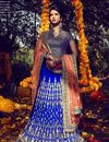 image of Soothing Bhagalpuri Bridal Wear Lehenga Choli In Blue Color