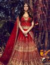 image of Soothing Bhagalpuri Bridal Wear Lehenga Choli In Red Color