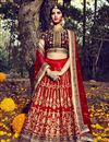 image of Red Color Dhupion Bridal Lehenga Choli With Stylish Embroidery Designs