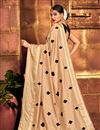 photo of Function Wear Cream Color Embroidery Work Saree In Art Silk Fabric