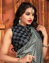 photo of Embroidery Work Designs Grey Color Art Silk Fabric Party Wear Saree