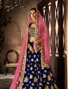image of Blue Designer Embroidered Lehenga Choli In Velvet Fabric With Alluring Blouse