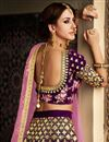photo of Velvet Fabric Wedding Wear 3 Piece Lehenga In Lavender With Embroidery Work
