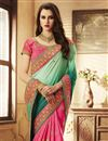 photo of Function Wear Teal Embroidery Work On Saree In Art Silk Fabric With Alluring Blouse