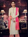 image of Party Wear Embroidered Palazzo Suit In Art Silk Fabric