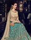 photo of Dark Teal Art Silk Embroidered Wedding Function Wear Anarkali Suit