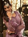 photo of Party Style Net Fabric Pink Palazzo Suit With Heavy Embroidery Work