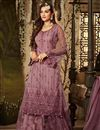 image of Party Style Net Fabric Pink Palazzo Suit With Heavy Embroidery Work