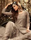 photo of Fancy Net Fabric Function Wear Embroidered Palazzo Suit In Cream