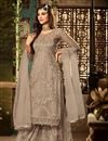 image of Fancy Net Fabric Function Wear Embroidered Palazzo Suit In Cream