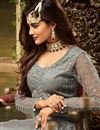 photo of Eid Special Party Style Net Fabric Grey Palazzo Suit With Heavy Embroidery Work