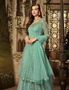 image of Eid Special Designer Cyan Heavy Embroidered Fancy Palazzo Dress In Net Fabric