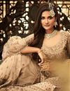 photo of Fancy Net Fabric Function Wear Embroidered Palazzo Suit In Beige