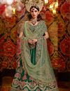 image of Embroidered Dark Green Color Wedding Lehenga