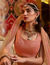 photo of Viscose And Georgette Fabric Peach Color Wedding Wear 3 Piece Lehenga Choli