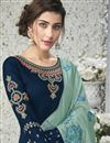 photo of Blue Designer Georgette Embroidered Function Wear Palazzo Dress With Dupatta