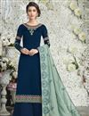 image of Blue Designer Georgette Embroidered Function Wear Palazzo Dress With Dupatta