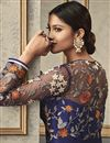 picture of Net Fabric Party Style Designer Floor Length Anarkali Dress In Blue With Embroidery