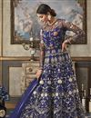 image of Net Fabric Party Style Designer Floor Length Anarkali Dress In Blue With Embroidery