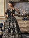 image of Function Wear Net Fabric Black Floor Length Heavy Embroidered Anarkali Salwar Suit