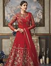 image of Function Wear Net Fabric Red Floor Length Heavy Embroidered Anarkali Salwar Suit