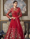image of Red Party Style Designer Embroidered Net Fabric Long Length Anarkali Suit