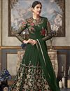 image of Party Wear Designer Embroidered Floor Length Anarkali Dress In Green Net Fabric