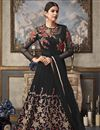 image of Net Fabric Embroidered Function Wear Designer Black Long Length Anarkali Dress