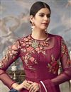 photo of Party Wear Designer Embroidered Floor Length Anarkali Dress In Maroon Net Fabric
