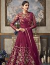 image of Party Wear Designer Embroidered Floor Length Anarkali Dress In Maroon Net Fabric