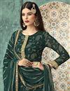 photo of Dark Green Fancy Georgette Foil Printed Function Wear Designer Palazzo Dress