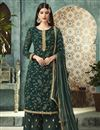 image of Dark Green Fancy Georgette Foil Printed Function Wear Designer Palazzo Dress