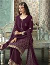 photo of Function Wear Fancy Georgette Foil Printed Palazzo Designer Suit In Purple