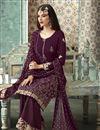 photo of Function Wear Fancy Georgette Foil Printed Palazzo Designer Suit In Purple