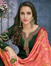 photo of Designer Georgette Festive Wear Embroidered Palazzo Suit In Dark Green