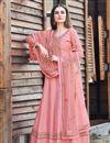 image of Designer Art Silk Party Wear Embroidered Pink Color Anarkali Dress
