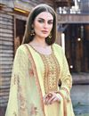 photo of Beige Color Party Wear Designer Embroidered Anarkali Suit In Art Silk