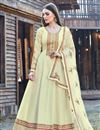 image of Beige Color Party Wear Designer Embroidered Anarkali Suit In Art Silk