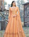 image of Designer Party Wear Orange Color Art Silk Embroidered Anarkali Dress