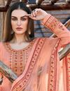 photo of Designer Party Wear Peach Color Art Silk Embroidered Anarkali Dress