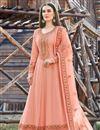 image of Designer Party Wear Peach Color Art Silk Embroidered Anarkali Dress