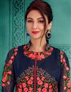 photo of Saumya Tandon Georgette Navy Blue Floor Length Anarkali Suit
