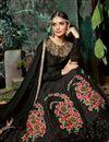 photo of Embroidery Work On Black Color Reception Wear Anarkali Salwar Kameez In Art Silk Fabric