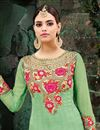 photo of Georgette Fabric Designer Embroidered Anarkali Salwar Suit In Sea Green