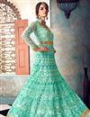 photo of Wedding Wear Fancy Embellished Cyan Long Anarkali Dress In Net Fabric