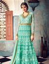 image of Wedding Wear Fancy Embellished Cyan Long Anarkali Dress In Net Fabric