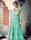 image of Wedding Wear Fancy Embellished Cyan Long Anarkali Dress In Net Fabric