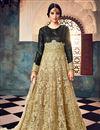 image of Wedding Function Wear Net Fabric Designer Embroidered Floor Length Anarkali In Beige