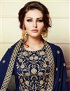 photo of Embroidery Work On Blue Color Wedding Wear Georgette Fabric Straight Cut Suit