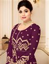 photo of Shamita Shetty Georgette Embroidered Party Wear Burgundy Color Anarkali Salwar Suit